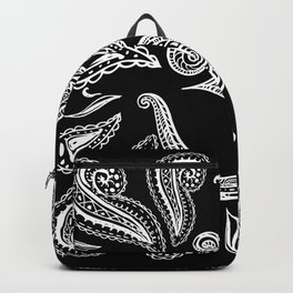 White Lace OM symbol  swirl on black Backpack