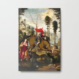 Saint George and the Dragon Oil Painting by Sodoma Metal Print