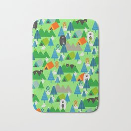 Forest with cute little bunnies and bears Bath Mat