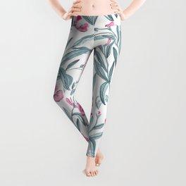 Nerium Oleander Pattern Leggings