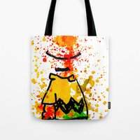 charlie brown Tote Bags featuring Charlie Brown by benjamin james