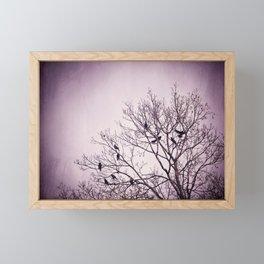 Dark Purple Birds Tree Branches Photography, Violet Black Bird Trees Nature Spooky Framed Mini Art Print