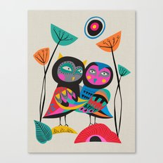 Owls hugging Canvas Print