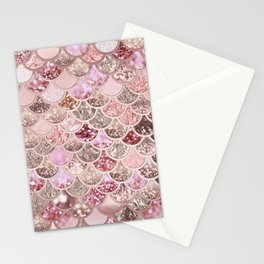 Rose Gold Blush Glitter Ombre Mermaid Scales Pattern Stationery Cards