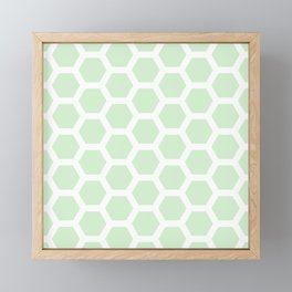 Soft Fern Green Honeycomb Pastel Pattern Framed Mini Art Print