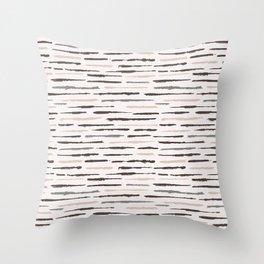 Rustic Texture Grunge Stripes Winter White Throw Pillow