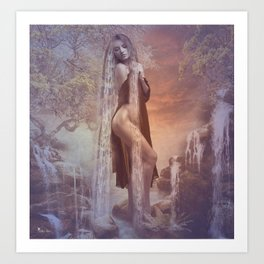 Sunset Falls Art Print