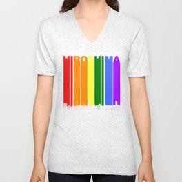 Hiroshima Japan Gay Pride Rainbow Skyline Unisex V-Neck