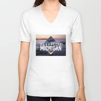 postcard V-neck T-shirts featuring Marquette Postcard by ztwede