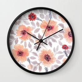 Watercolor . Salmon flowers . Wall Clock