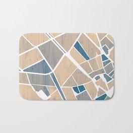 Barcelona City Center Map in Blue Bath Mat