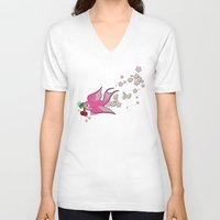 swallow V-neck T-shirts featuring Pink Swallow by Jelly Roger