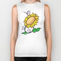 sunflower Biker Tanks featuring Sunflower by Artistic Dyslexia