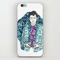 alex turner iPhone & iPod Skins featuring Baroque Alex Turner by Anja-Catharina