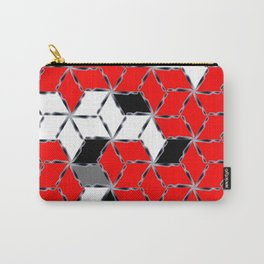 red white black grey cubes geometric 3d pattern Carry-All Pouch