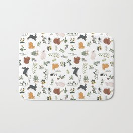 Bunnies and spring flowers Bath Mat