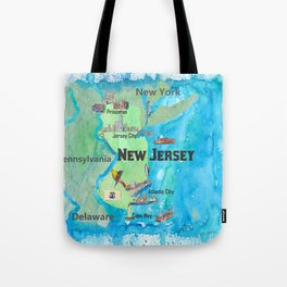 USA New Jersey State Travel Poster Map with Touristic Highlights Tote Bag
