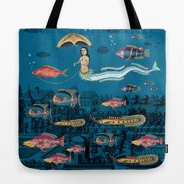 Mermaid and red fish pet Tote Bag
