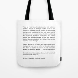 The Great Gatsby Last Page Quote Tote Bag
