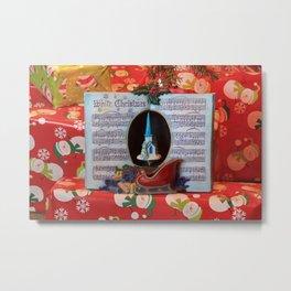 Christmas Present's with a Music Box Music Book closeup Metal Print