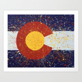 Splatter Colorado Flag Art Art Print
