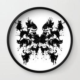 Rorschach Test Cat's On My Mind Wall Clock