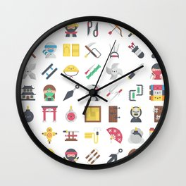CUTE NINJA PATTERN Wall Clock