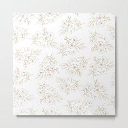 Shabby vintage pastel brown white elegant floral Metal Print