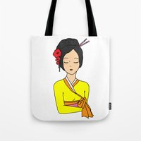 korean Tote Bags featuring Korean Maiden by RaJess