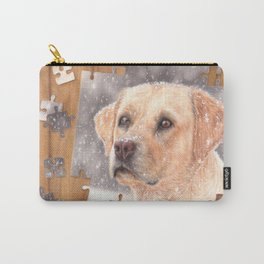 Winter labrador colored pencil illustration Carry-All Pouch