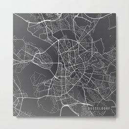 Dusseldorf Map, Germany - Gray Metal Print