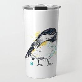 Chickadee - Itty Bitty Chickadee - Watercolor Painting Travel Mug