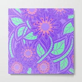Zen Flowers Doodle Design - Lavender Purple Metal Print