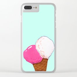 Strawberry and vanilla ice cream Clear iPhone Case