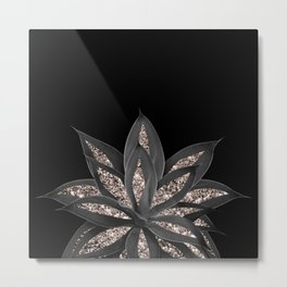 Gray Black Agave with Rose Gold Glitter #1 #shiny #tropical #decor #art #society6 Metal Print
