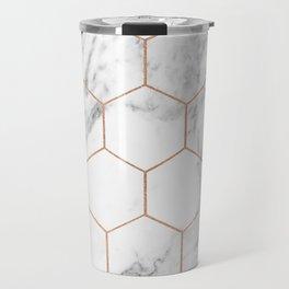 Rose gold marble hexagons honeycomb pattern Travel Mug