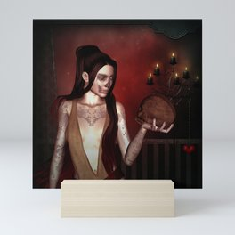 Wonderful fantasy women with skull Mini Art Print