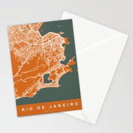 Rio de Janeiro Brazil Map | Coffee & Green | More Colors, Review My Collections Stationery Cards