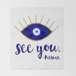 Evil Eye See You Karma Throw Blanket