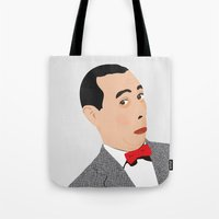 pee wee Tote Bags featuring pee-wee by Britt Whitaker Design