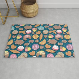 Mexican Sweet Bakery Frenzy // turquoise background // pastel colors pan dulce Rug