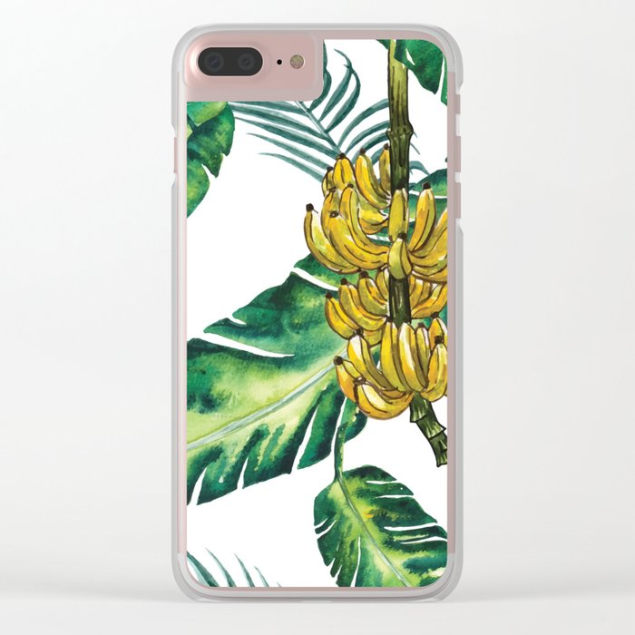 watercolor banana leaves Clear iPhone Case