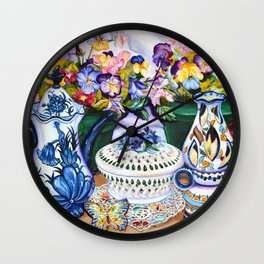 Pansies and Teapot oil Still Life Wall Clock