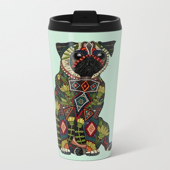 pug love mint Metal Travel Mug