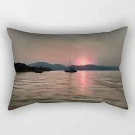 Sunset Shores In Pink And Grey Rectangular Pillow