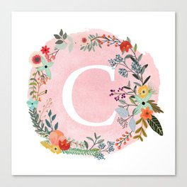 Flower Wreath with Personalized Monogram Initial Letter C on Pink Watercolor Paper Texture Artwork Canvas Print