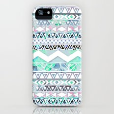 Teal Girly Floral White Abstract Aztec Pattern Slim Case iPhone (5, 5s)