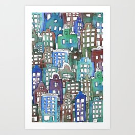 Bright canal houses for everyone Art Print