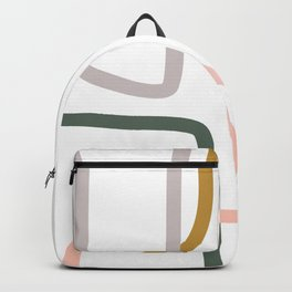 Minimalist Abstract Organic Lines in Coral, Green, and Grey Backpack
