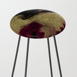 Black Honey - resin abstract painting Counter Stool